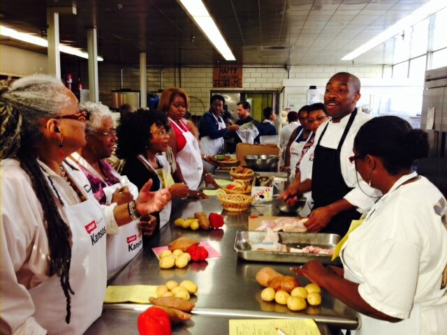 Chef Rock Harper with cooks