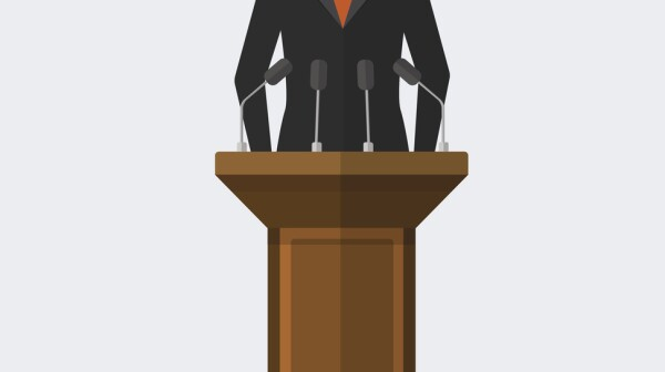 Vector Illustration Politician Woman Giving Speech