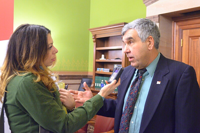 Tony Vola interviewed by radio reporter