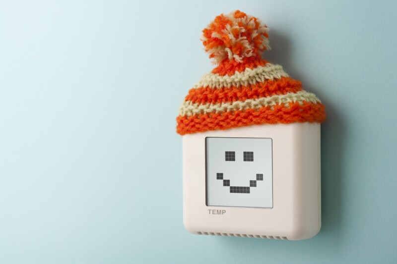 Digital room temperature thermostat with smiley face and wooly h