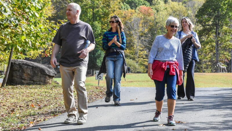 Four adults walking
