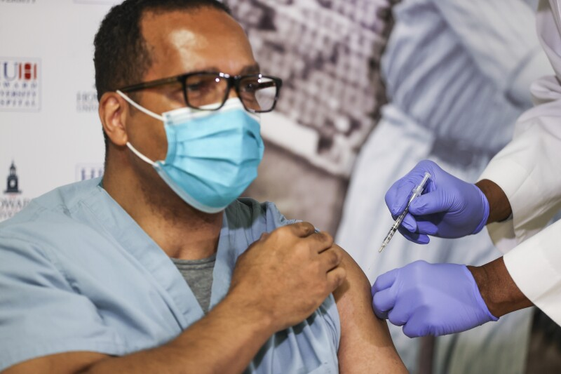 Howard University Hospital Staff Members Receive Covid-19 Vaccination Shots In Nation's Capital