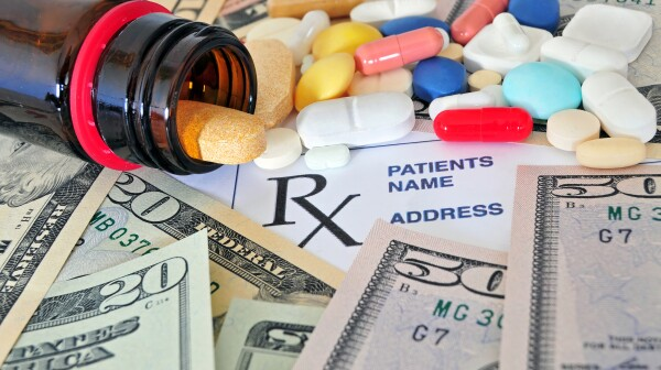 Prescription pills with money