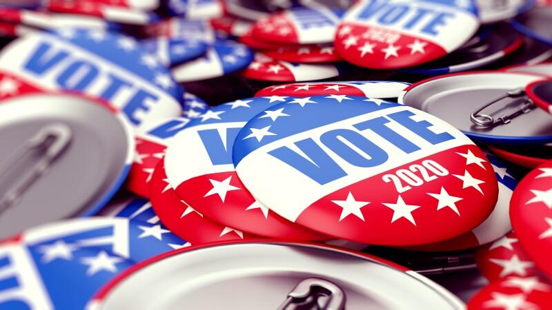 vote election badge button for 2020 background, vote USA 2020, 3D illustration, 3D rendering