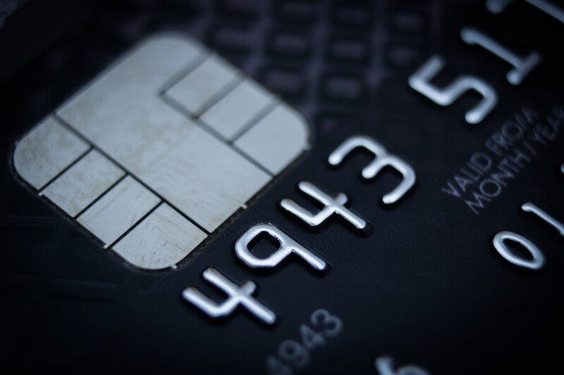 Close-up of credit card.