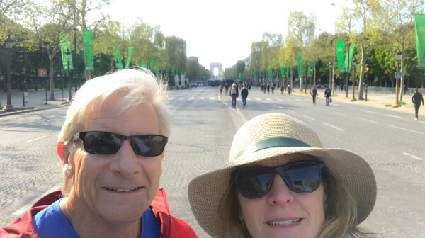 Carol and Me the day before the race wandering about an empty Champs-Elysees
