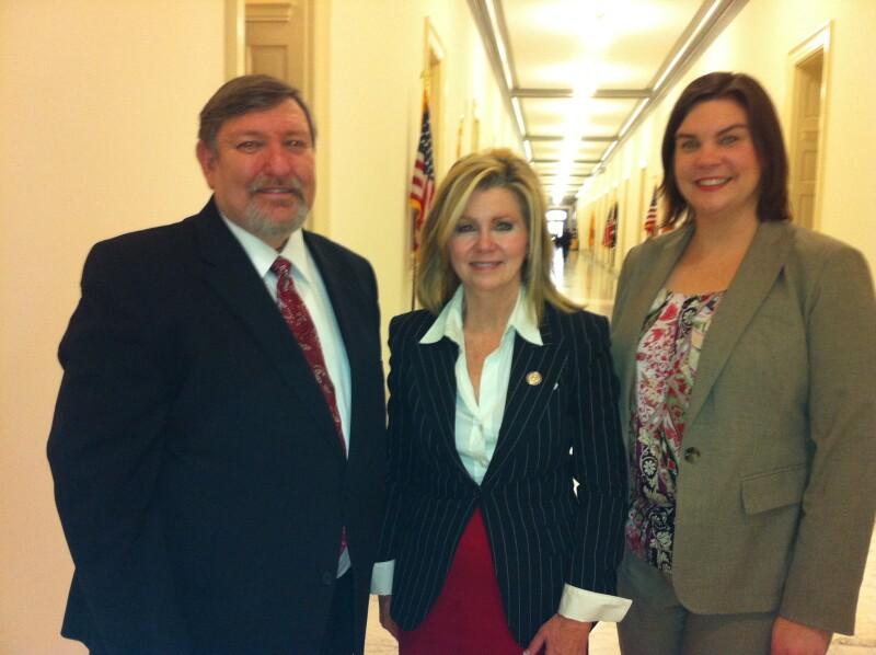 U.S. Rep. Marsha Blackburn with AARP Tennessee volunteer leader Stan Peppenhorst and Advocacy Director Shelley Courington