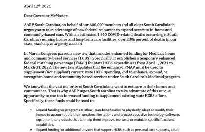 AARP SC letter to Gov. McMaster asking him to consider taking advantage of federal resources to expand access to in-home and community-based care