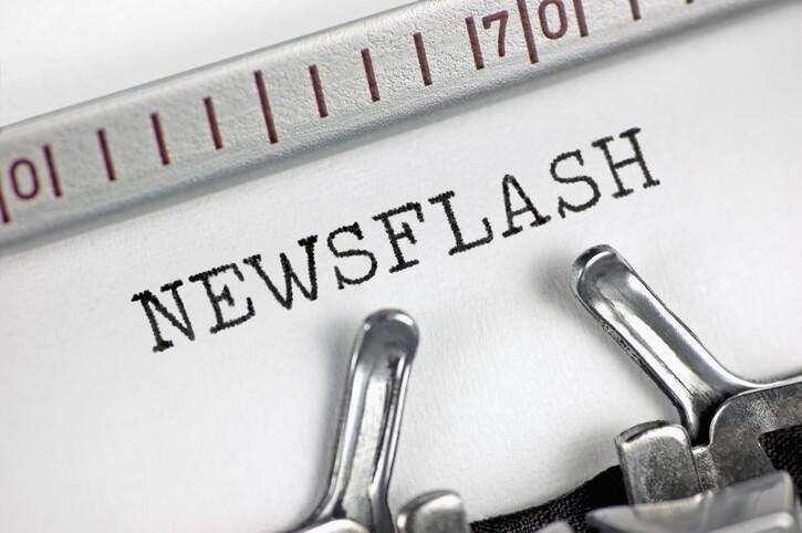 Typewriter detailed macro closeup typing text Newsflash, large detailed concept