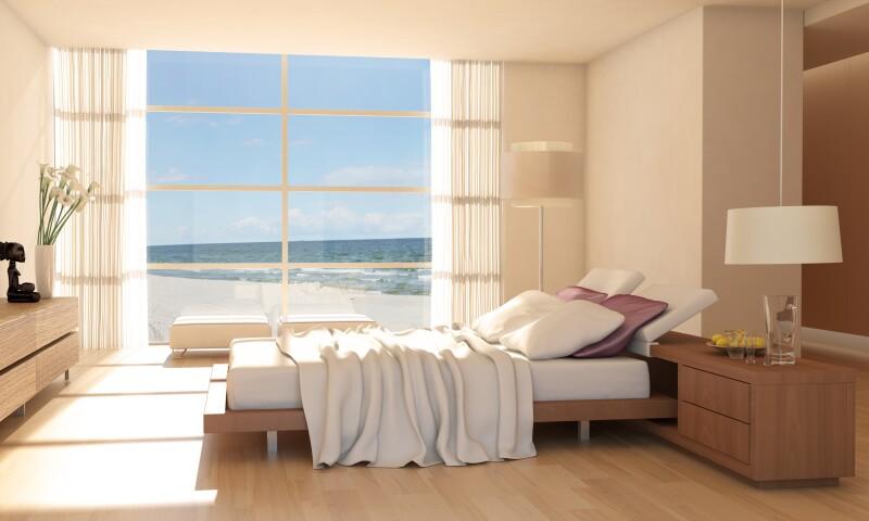 Minimalist Bedroom Interior With Sea View