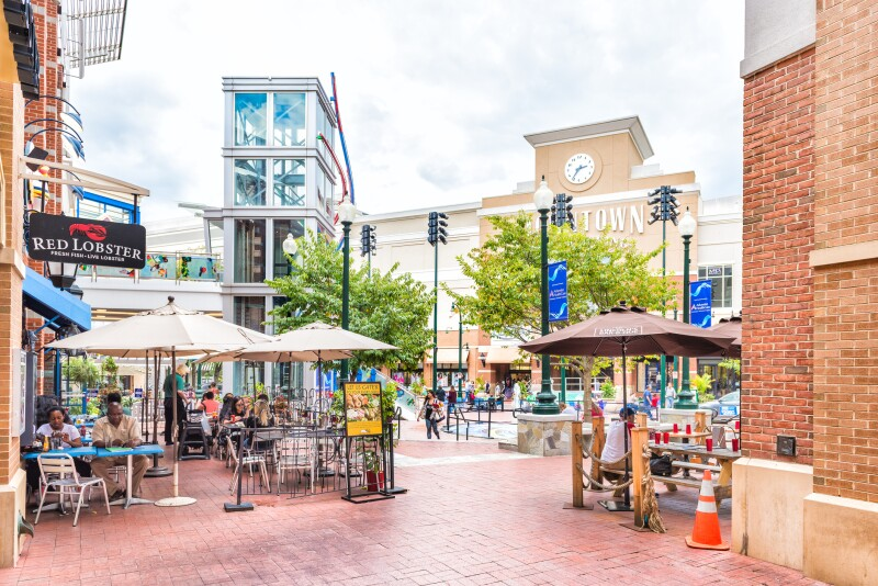 Downtown area of city in Maryland with shopping mall, restaurants and shops