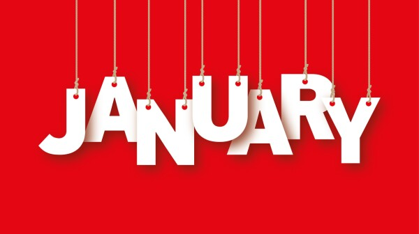 JANUARY the word of the white letters hanging on ropes