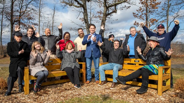Febuary 8th 2020, Dunellen, NJ, Jason F. Cilento, Mayor of Dunellen, with a grant from AARP to bulid benches in Columbia Park, which were really needed for the community. Photography Christopher Lane/AARP