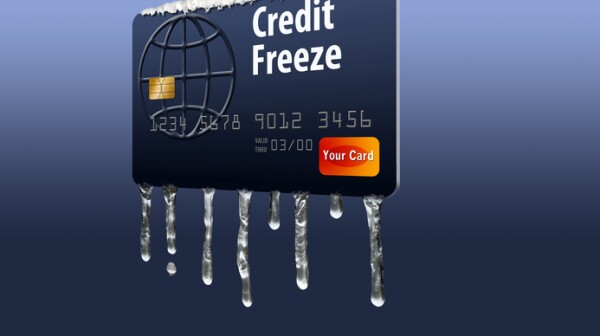 Credit card with icicles illustrates a credit freeze