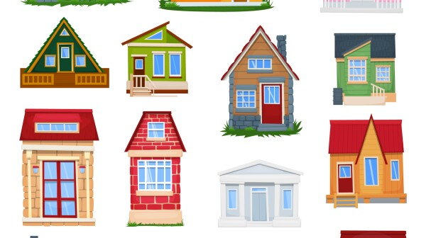 Houses front view. A set of tiny houses. Vector illustration