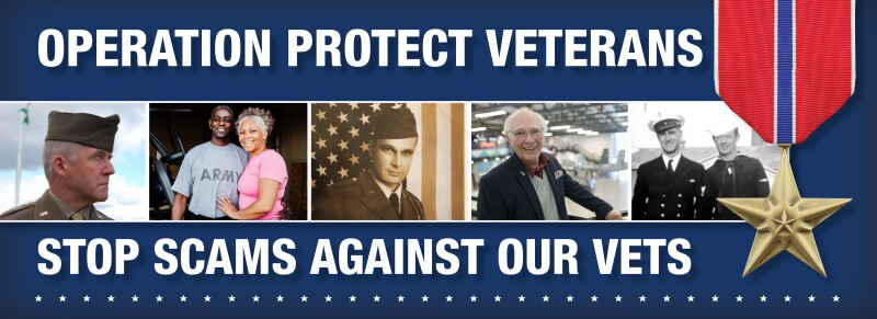 Stop Scams Against Vets Bar Graphic