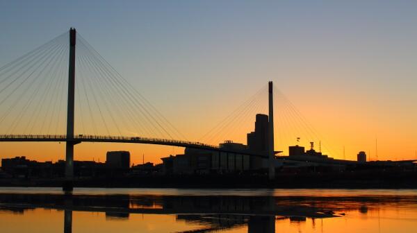 Downtown Omaha at sunset