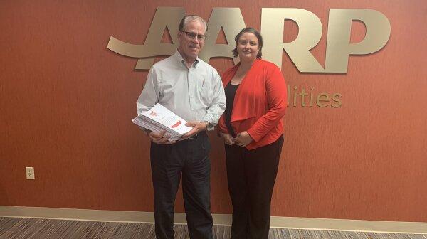 US Senator Mike Braun and AARP Indiana State Director Sarah Waddle