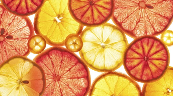 Food: Backlit Citrus Fruits, lemon, grapefruit, orange, blood or