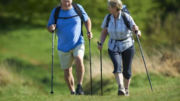 Retired Couple Nordic walking