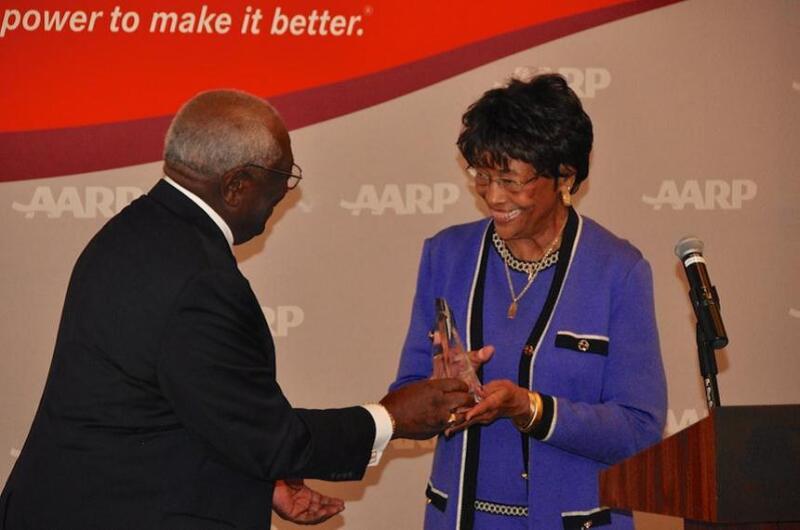 AARP volunteer Gene Gary-Williams accepts the 2012 Andrus Award.