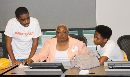 2 Mentor Up Students with NREA Member Sylvia Ross