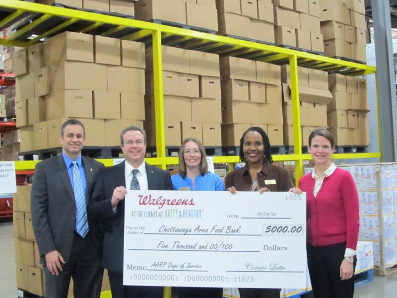 AARP volunteer leader Bettye Jo Wells with Walgreens executives at the Chattanooga Area Food Bank