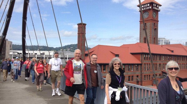 walking across the Broadway Bridge small