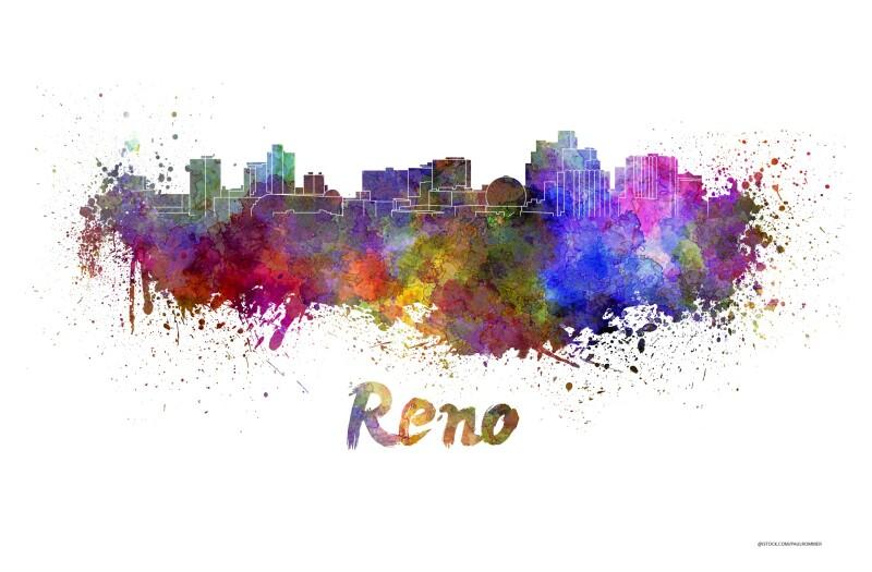 Reno skyline in watercolor