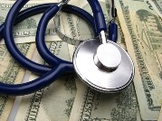 medical stethoscope on  background  dollar denominations,  close up