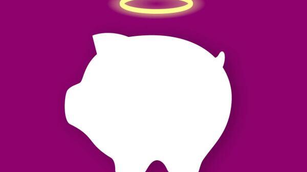 Money-box with nimbus; Значок копилки с нимбо
