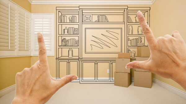 Framing Hands of Shelf Design Drawing on Wall In Empty Room.