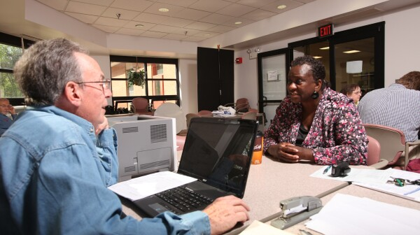 AARP FoundationTax help aid center.16th April 2012Photography Simon Bruty