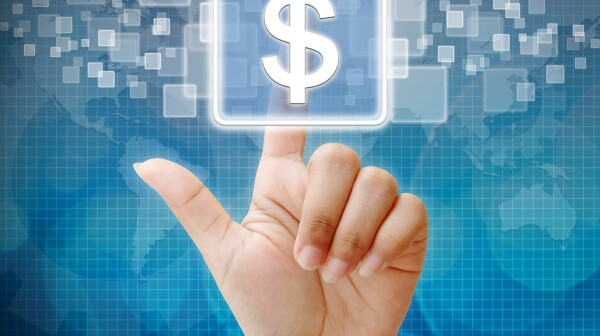 Hand with dollar sign on abstract background