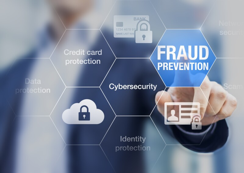 Fraud prevention button, concept about cybersecurity and credit card protection