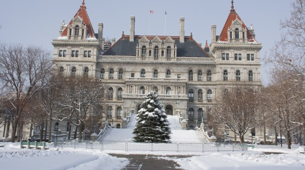 New York State Capitol Building full of snow