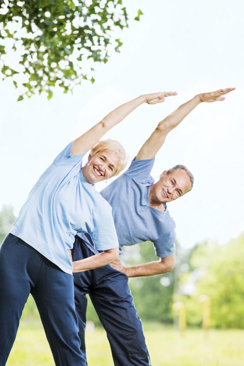Beautiful mature couple exercising.