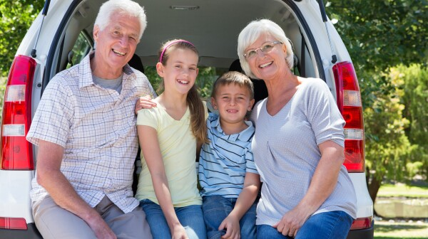 Grandparents going on road trip with grandchildren