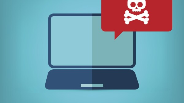 Malware alert notification on laptop computer vector, malware concept, spam data, online scam, virus