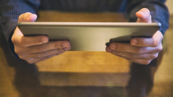 Holding the tablet
