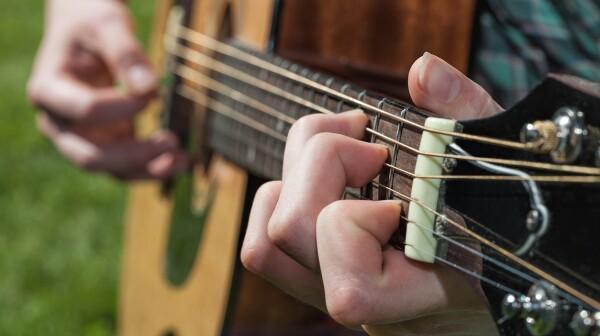 Musician's hand closeup