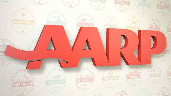 AARP Logo with state logos in background
