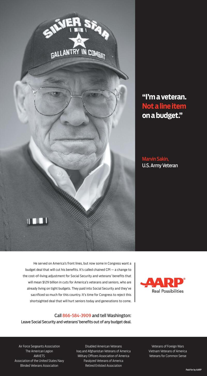 Korean War vet Marvin Sakin is the focus of a new AARP print ad for chained CPI.