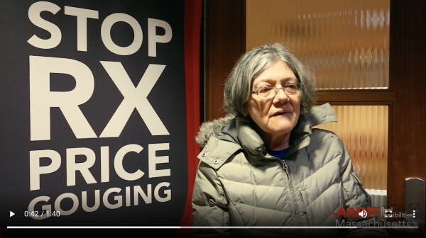 Woman sharing her story of high-priced prescription drugs.