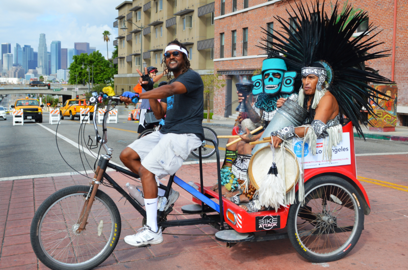 Ciclavia with Aztecs Dancer and DTLA
