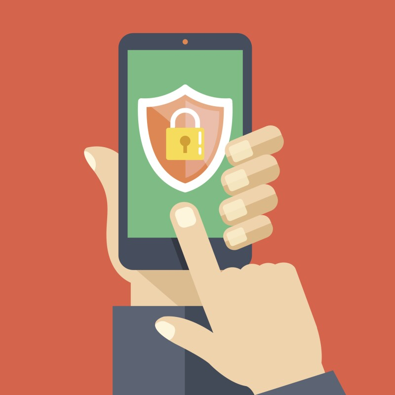 Mobile security app on smartphone screen. Flat design vector illustration