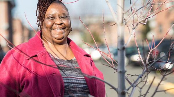 Jersey City, Nj January 21st 2018. Kimberly Ross, who has lived her whole life at Marion Gardens housing estate, helped with a beautification project. Second location was the Puluski Skyway a few blocks from her residents. Photography Christopher Lane/AARP