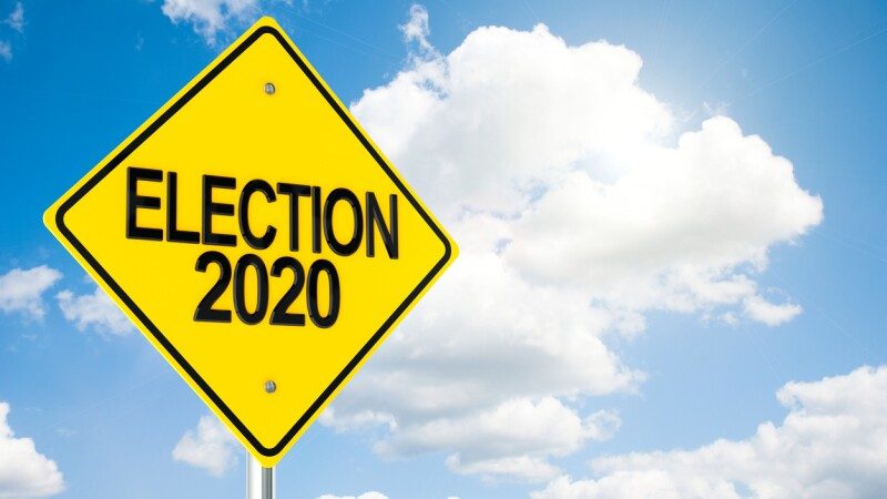 Road sign Election 2020 on sky