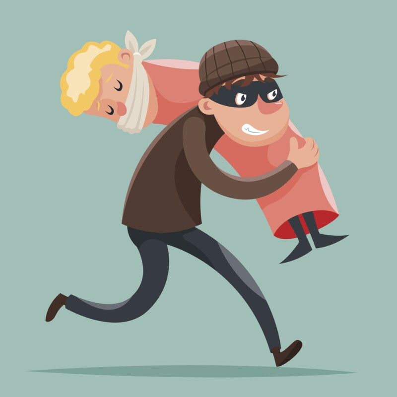 Kidnapper Running Away Hostage Character Icon Cartoon Design Template Vector
