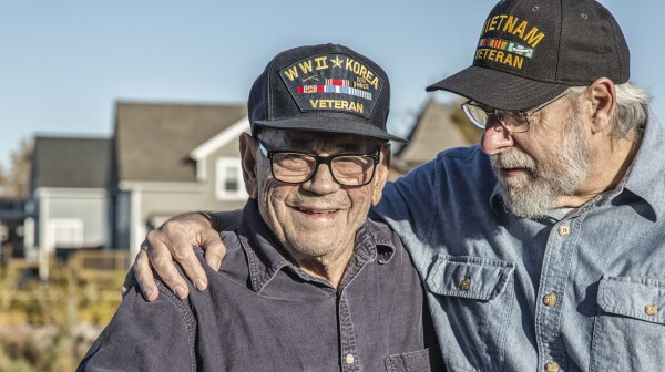 Two Generation Family USA Military War Veteran Senior Men